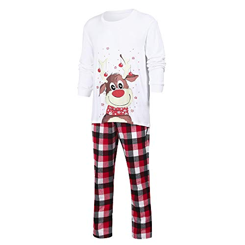 amily Matching Pajamas Set Lovely Xmas Deer Top + Plaid Pants Mommy, Daddy &Me Winter Home Sleepwear ()
