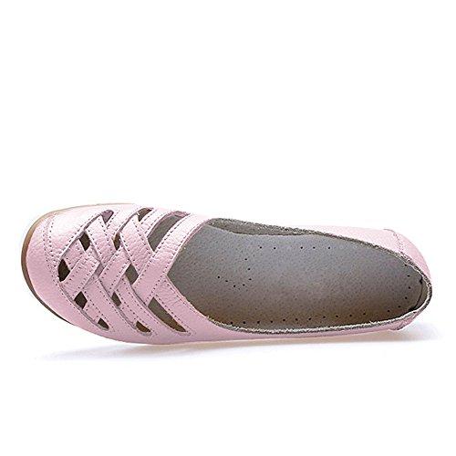 Blivener Femmes Casual Mocassins Creux Chaussures Plates Chaussures De Conduite 02pink