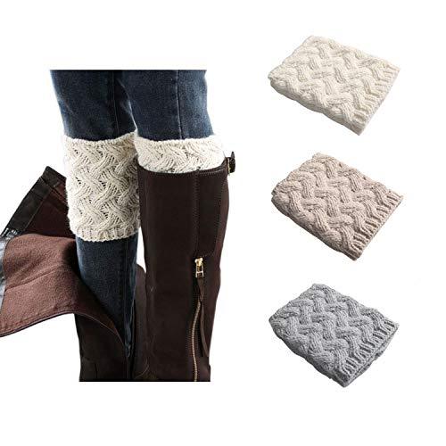 Bestjybt 3 Pairs Womens Short Boots Socks Crochet Knitted Boot Cuffs Leg Warmers Socks, Style 02