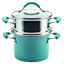 Rachael Ray Cucina Hard Enamel Nonstick Covered Multi-Pot Set with Steamer, 3 Quart, Agave Blue