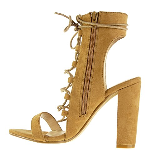 Angkorly - Chaussure Mode Sandale Bottine ouverte sexy femme lacets multi-bride Talon haut bloc 11.5 CM - Camel