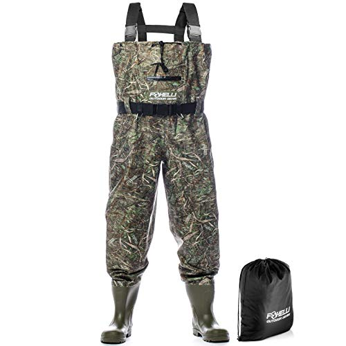 Foxelli Nylon Chest Waders – Camo Fishing Waders for Men with Boots - Use for Fly Fishing, Duck Hunting, Emergency Flooding – 100% Waterproof, Carrying Bag Included
