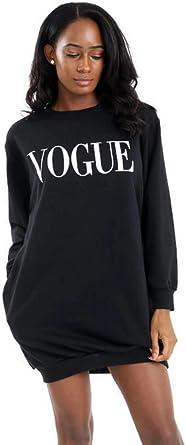 Ladies Womens Oversized Side Pockets Longline Vogue Print Sweatshirt Tunic Dress