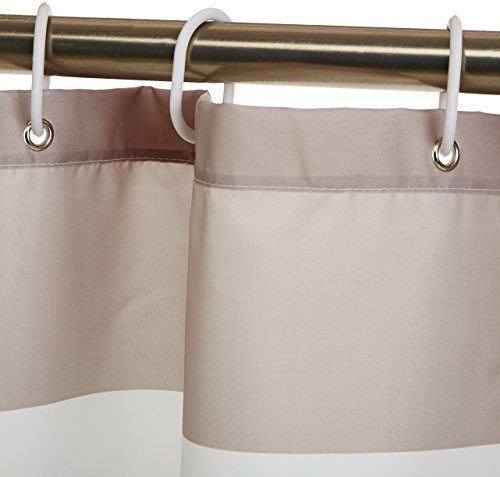 AmazonBasics Mold and Mildew Resistant Shower Curtain with Hooks, 72-Inch, Gray Stripe - Water-repellent printed fabric shower curtain with a gray stripe pattern Made with a mold- and mildew-resistant polyester fabric for long-lasting use and good looks Weighted hem helps keep it in place; rust-resistant metal grommets along reinforced top header - shower-curtains, bathroom-linens, bathroom - 41Ri1G2E GL -