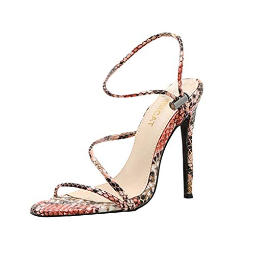 GHrcvdhw Colour Texture High-Heeled Sandals Women Shoes Elegant Confident Summer Buckle Stiletto Thin Heels Pink