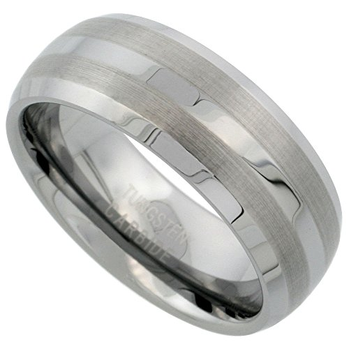 (Sabrina Silver Tungsten Carbide 8 mm Dome Wedding Band Ring Double Etched Stripes Beveled Edges, size 14)