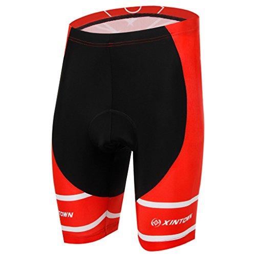 TeyxoCo Men Red Pro Cycling Padded Fire Shorts XXXL