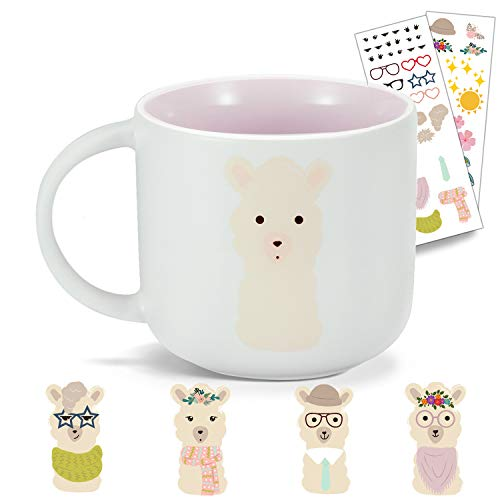 Onebttl Cute Coffee Mug, Ceramic Tea Mug Cup, Llama Lover Gift, Fun & Unique DIY Office Cup with Removable Premium Quality DIY Vinyl Mug Decal Stickers - Novelty Gift Options for Loved Ones (11oz)