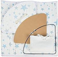 60 L Relaxdays Cesto Ropa Sucia Esquinero con Tapa Estrellas 65.5 x 49.5 x 37 cm 65,5 x 49,5 x 37 cm Blanco-Azul Cubo Colada Plegable