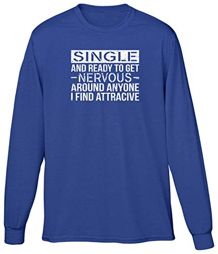 Blittzen Mens LS Single and Ready to Get Nervous Around, S, Royal Blue