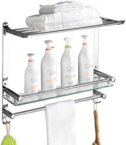 2つのティア壁掛けタオルラック、19.6インチのSUS304ステンレススチール&太い強化ガラス浴室のタオル棚