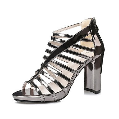 Leather Sandals Primavera Estate Gladiator Dress grosso Zipper donna tacco YCMDM , dark grey , us8 / eu39 / uk6 / cn39