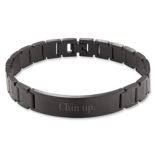 Things Remembered Personalized Gunmetal Link ID Bracelet with Engraving Included