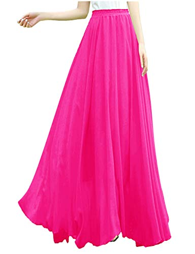 v28 Women Full/Ankle Length Elastic Retro Maxi Chiffon Long Skirt (XL,Rose)