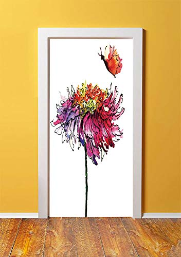 Watercolor 3D Door Sticker Wall Decals Mural Wallpaper,Chrysanthemum Flower Illustration Friendship Well Being Honoring Loved Ones Decorative,DIY Art Home Decor Poster Decoration 30.3x78.14695,Multico
