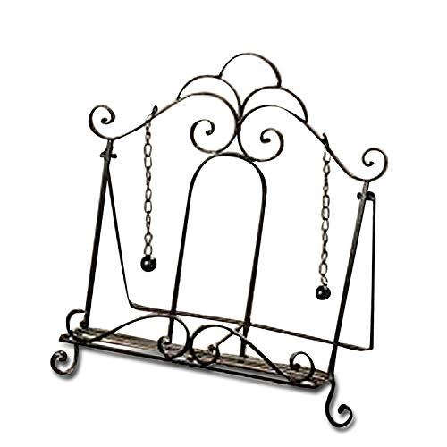 Whole House Worlds Gastro Chic Cook Book Stand, Artisinal Design, Weighted Drop Chain Page Holders, Iconic Scroll Work Details, Easel Back, 12 1/2 Inches Tall