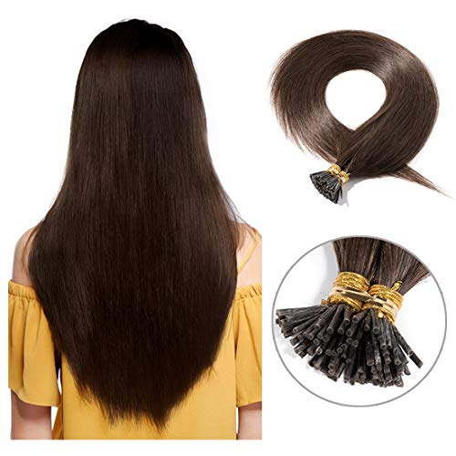 Pre bonded I Tip Human Hair Extension for Women Fusion Stick Tip Remy Human Hair Piece Invisible Keratin Glue in Hair Extensions Full Head 100 Strands 50 Gram 18Inch #04 Medium Brown