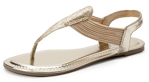 (SANDALUP Women's Elastic Strappy Flat Sandals w Sparkling Thong Sandals for Women Light Gold 08)