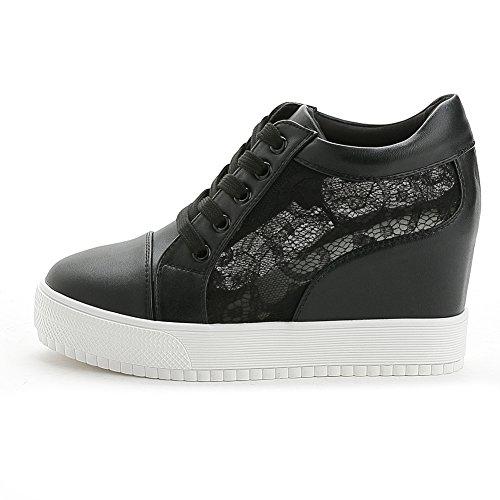 Giy Femmes De Mode Lacets Bas Haut Lacets Wedge Espadrilles Plate-forme Augmenté Hauteur Chaussures De Sport Décontracté Noir