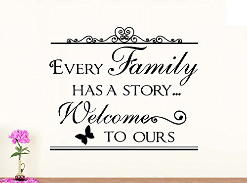 Wall Vinyl Decal Every family has a story welcome to ours vinyl art saying lettering motivational inspirational sign wall room (Every Sign)