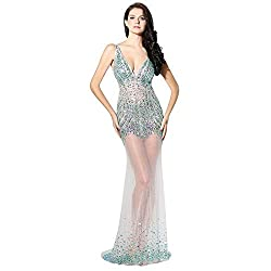 Long V-Neck And Backless Crystal Dress
