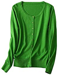 Women S Soft Lightweight Button Front Long Sleeve Crewneck Cashmere Cardigan Sweater Green Tag 2xl Us L 12