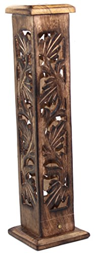 Govinda Carved Wood Square Tower Incense Burner w/Slide-Out Ash Catcher - Flat Roof Top -