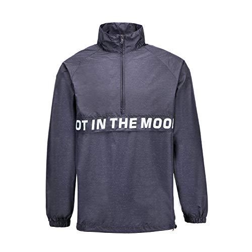 (PTSports Mens Windbreaker Hooded Lightweight No Cap Classic Breathable Quick Dry Shell Jacket Dark Grey)