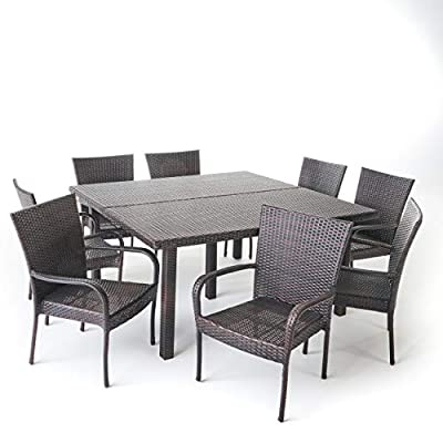 Christopher Knight Home 303925 Fern Outdoor 9 Piece Stacking Multibrown Wicker Square Dining Set