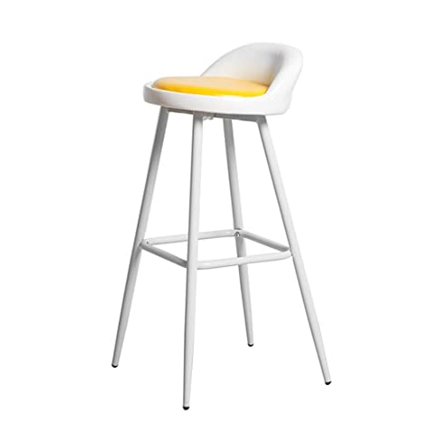 Amazon.com: Moderna silla de bar con patas de metal blanco ...