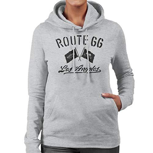 Route 66 Motorcycle Flags Los Angeles Women's Hooded Sweatshirt Heather Grey (Best Bike Routes Los Angeles)