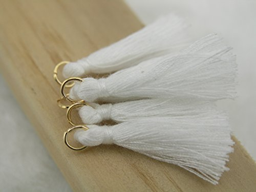 50pcs White Silky Handmade Tiny(1.4'') Soft Tassels, Mini Tassels, Earring Tassels with Golden Jump Ring ()