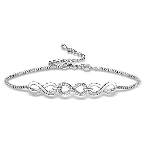 Wealthmao Bangle Bracelet Expandable 18K White Gold Plated Crystal Cubic Zirconia Rhinestone Open Cuff Bracelet for Women Girls (8 Shaped)
