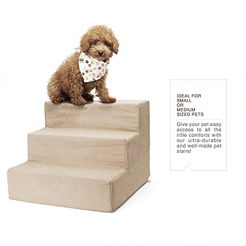 Delxo High Density Foam 3 Tier Pet Stairs,Comfy Micro Suede Pet Steps with Machine Washable Zippered Removable Cover with Anti-Slip Black Dot Bottom Loads 44lbs Beige(3-Step, Beige) by Delxo