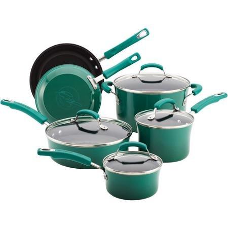 41Ri4BmyEXL - Rachael Ray Porcelain Enamel II Nonstick 10-Piece Cookware Set, Blue Gradient