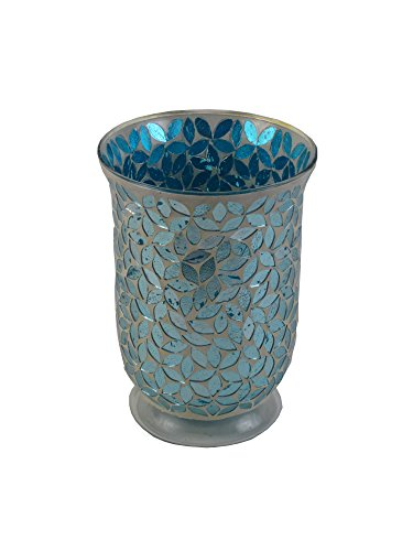 """Firefly Home Collection Mosaic Candle Holder, 6 x 6 x 8"""", Te"""
