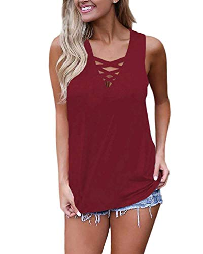 WNEEDU Women's Summer Sleeveless Criss Cross Casual Tank Tops Basic Lace up Blouse (M, Wine Red)