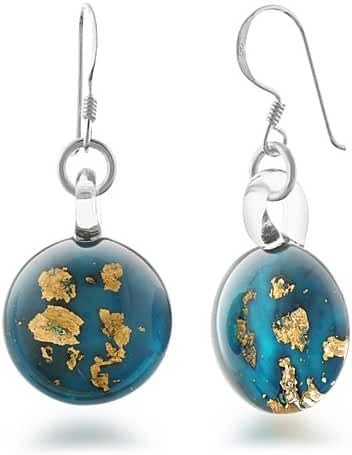 925 Sterling Silver Hand Blown Murano Glass Golden Stardust Blue Sky Dangle Earrings
