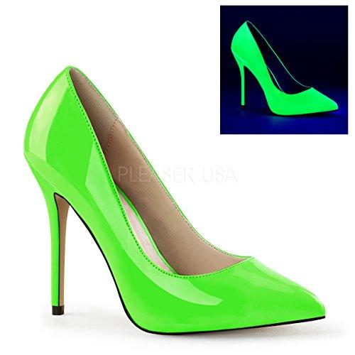 Pleaser Women#039s Amu20/ngn Platform Pump Neon Green Patent 9 M US