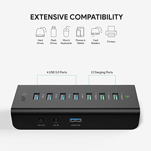 AUKEY USB Hub Powered Charging, 7 Port USB 3.0 Hub with 3 Charging Ports, 4 USB 3.0 Data Ports, 12V/3A Power Adapter, Power Switch for Laptop, PC, Mac, HDD Hard Drive (Black) by AUKEY (Image #1)