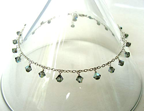 Sterling silver anklet with genuine Swarovski crystal drops all around, adjustable length, summer sparkle, handmade by Let Loose Jewelry