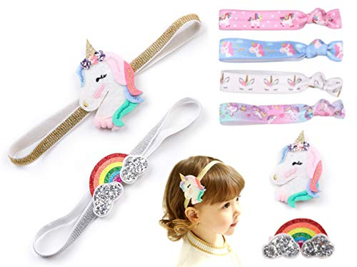 Price comparison product image Baby Girl Unicorn Headband 8 Pack Baby Hair Clips Bands Ties Party Favors