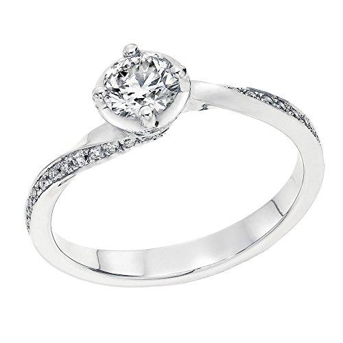 IGI Certified 14k white-gold Round Cut Diamond Engagement Ring (0.55 cttw, F Color, VS2 Clarity) - size (14w Diamond)
