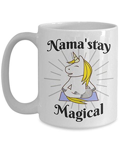 Unicorn Yoga Coffee Mug Nama'stay Magical Inspired Cup Gift -15oz Ceramic White Mug