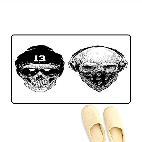 - Bath Mat Funny Skull Band Dead Street Gangs with Bandanna Hood Rapper Style Grunge Print Floor Mat Pattern Black White 20