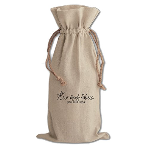 I Sew Much Fabric Sew Little Time Canvas Wine Cotton Drawstring Bag by Style in Print