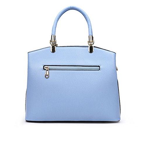 WOMJIA elegante Blume PU-Leder Tasche Umhängetasche Handtaschen Blau XL4Mx