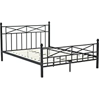Flex Form Emilia Metal Platform Bed Frame / Mattress Foundation with Headboard and Footboard, Twin