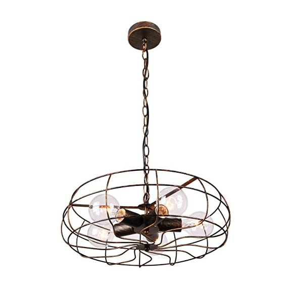 Unitary Brand Vintage Barn Copper Metal Hanging Ceiling Chandelier Max. 200W With 5 Lights Painted Finish - High quality,2 years guarantee. Installation type:Hardwired. Product Dimensions:44.09x18.5x18.5 inches.Suggested Space Size:20-25Sq.m.It's the perfect light fixture to install in kitchen,dining room,living room,foyers and more. Voltage:120V for North America.Max. Power:40Wx5 (bulbs not included) - kitchen-dining-room-decor, kitchen-dining-room, chandeliers-lighting - 41Ri6N%2BxOKL. SS570  -