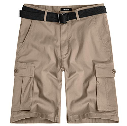 Wantdo Men's Belted Relaxed Cotton Cargo Shorts 40 Light Khaki - Shorts Light Cargo Khaki